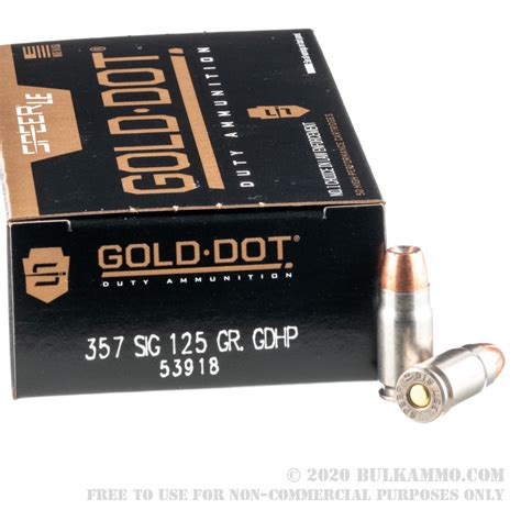 50 Rounds Of Bulk 357 Sig Ammo By Speer 125gr Jhp