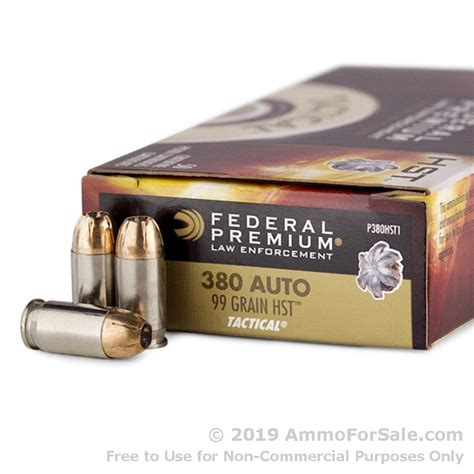 50 Rounds Of Bulk 380 Acp Ammo By Federal Hst 99gr Jhp