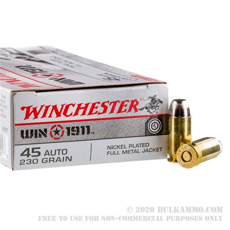 50 Rounds Of Bulk 45 Acp Ammo By Winchester 1911 230gr Fmj