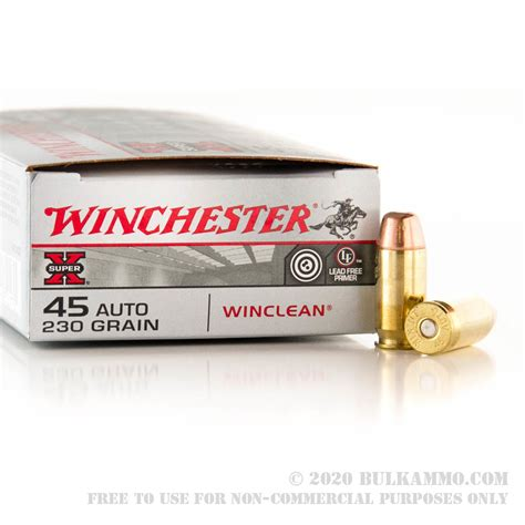 50 Rounds Of Bulk 45 Acp Ammo By Winchester 230gr Beb