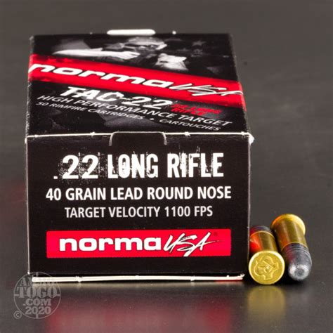 50rds 22lr Norma Tac22 40gr Lrn Ammo Ammo To Go