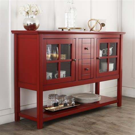 52 Inch Antique Red Wood Console Table Buffet Plans