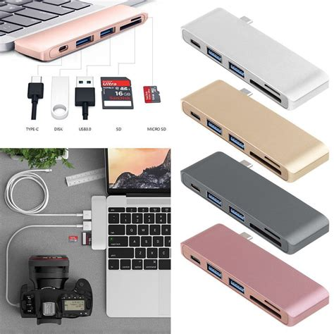 5in1 USB C Hub 3.0 Type C Adapter Charging and Reader For Macbook Pro Mac PC Laptop (Rose Gold)