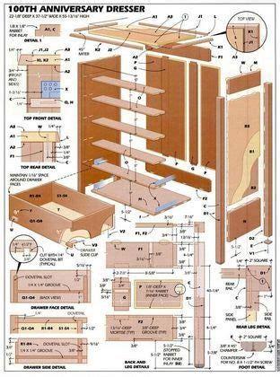 6 Drawer Pine Dresser Plans