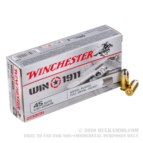 600 Rounds Of Bulk 45 ACP Ammo By Winchester - 230gr FMJ