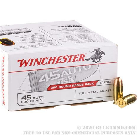 600 Rounds Of Bulk 45 Acp Ammo By Winchester 230gr Fmj