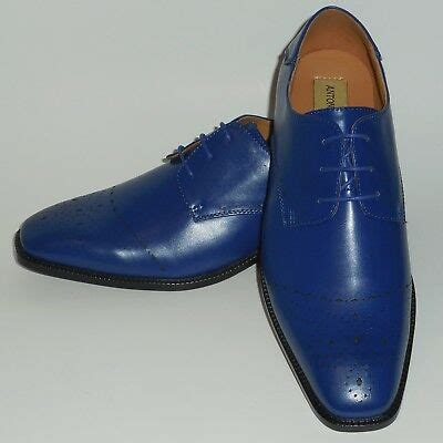 6738 Mens Royal Blue Perforated Dressy Oxford Dress Shoes
