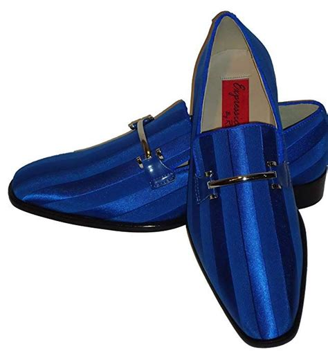 6757 Mens Elegant Royal Blue Satin Formal Tux Dress Shoes Loafers