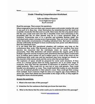 7th Grade Reading Comprehension