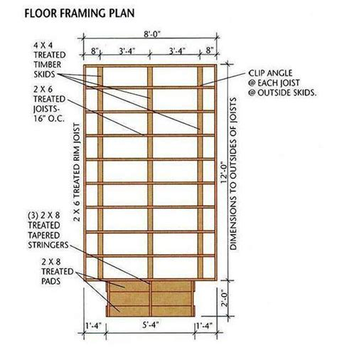 8x12 Shed Floor Plan