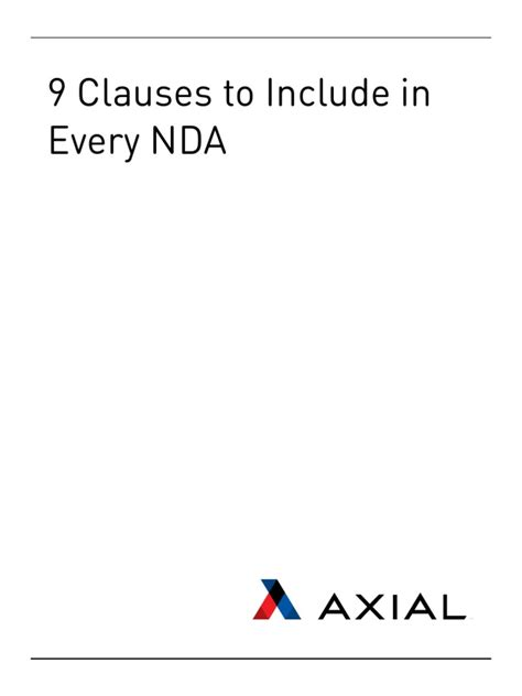 [pdf] 9 Clauses To Include In Every Nda - Welcome To Axial.