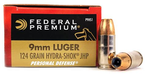 9mm Federal Hydra Shok Jhp 124 Grain And 9mm Pdw Stock