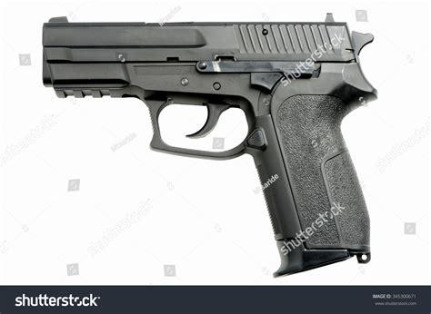 9mm Handgun On White Backgrond