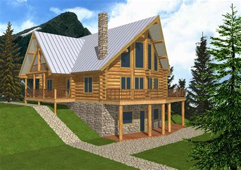 A Frame Log Home With Garage Plans