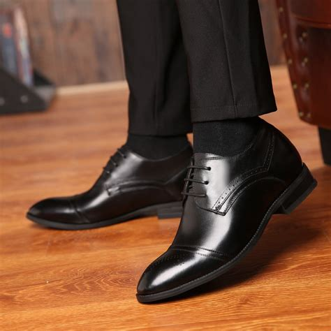 A329011-3 inches Taller - Height Increasing Elevator Shoes - Black Dress Shoes