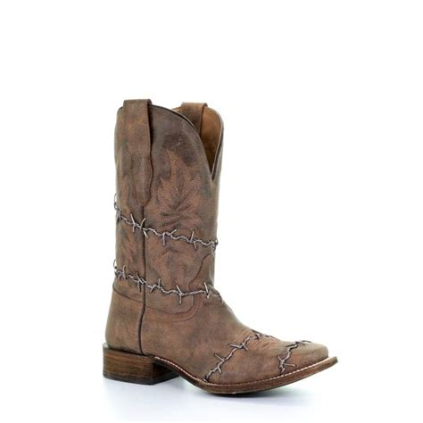 A3532 Men's Barbed Wire Woven Square Toe Boots