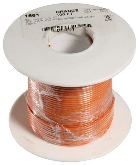 ALPHA WIRE 1561 OR005 HOOK-UP WIRE, 100FT, 22AWG CU ORANGE