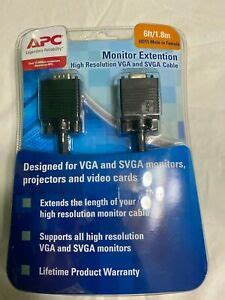 APC Monitor Extension High Resolution VGA and SVA Cable HD15 Male to Female, 6ft (1.8m) Black