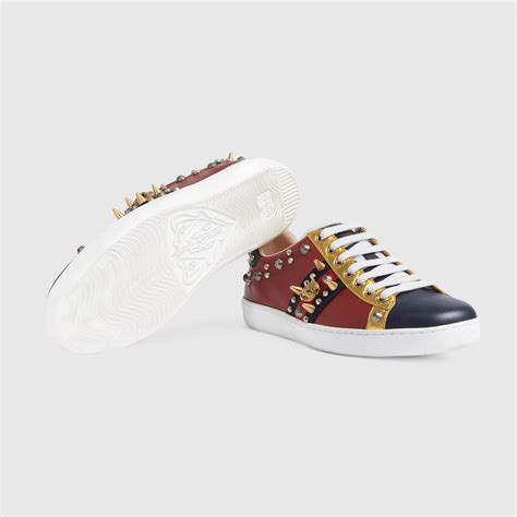 Ace Studded Leather Sneaker Gucci