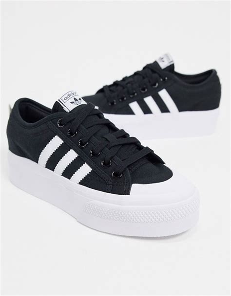 Adidas Black And White Platform Sneakers