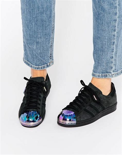 Adidas Originals Black Superstar Sneakers With Holographic Metal Toe Cap