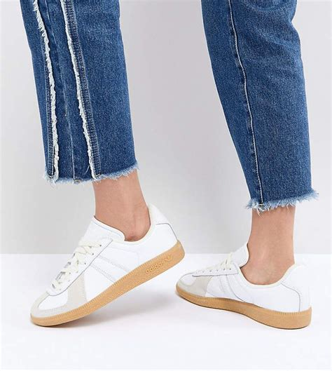Adidas Originals Bw Army Sneakers In White With Gum Sole