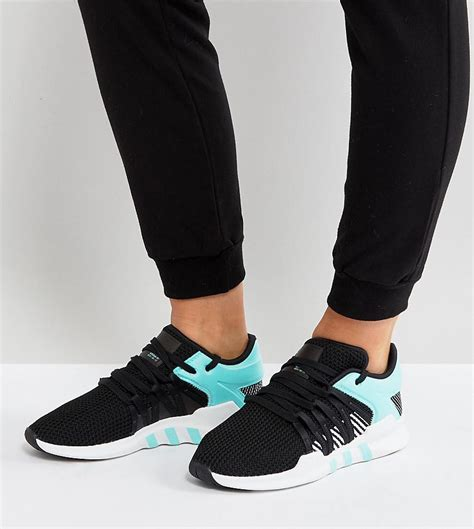 Adidas Originals Eqt Support Rf Sneakers In Black And Mint