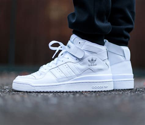 Adidas Originals Forum Mid Triple White Leather High-top Sneakers