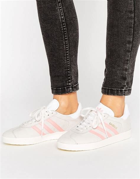 Adidas Originals Pastel Gray And Pink Gazelle Sneakers