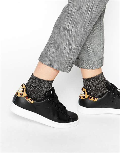 Adidas Originals Stan Smith Black Animal Print Sneakers