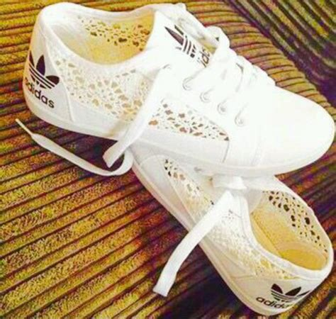 Adidas White Lace Black Cute Sneakers