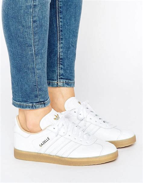 Adidas White Sneakers With Gum Sole