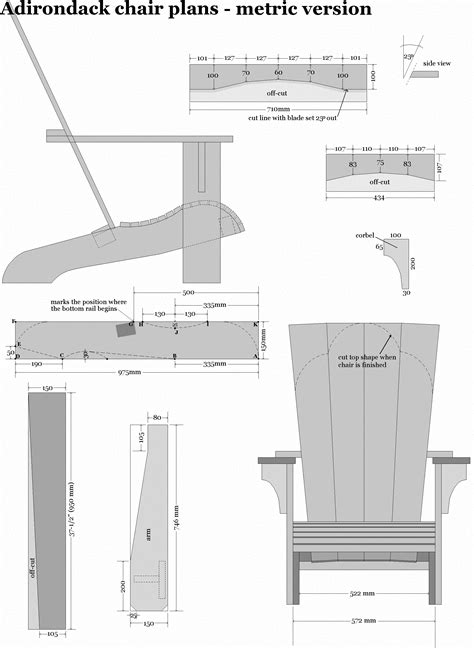Adirondack Chair Plans Metric Chart Grams