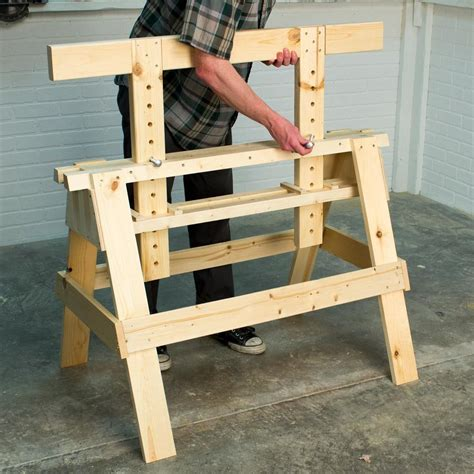 Adjustable Height Sawhorse Plans With No Nails