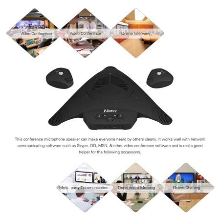 Aibecy MST-X3 EX USB Conference Microphone Speakerphone with 2 Extended Mic 8m 360° Audio Pickup Support Skype MSN QQ for Computer Mobile Phone