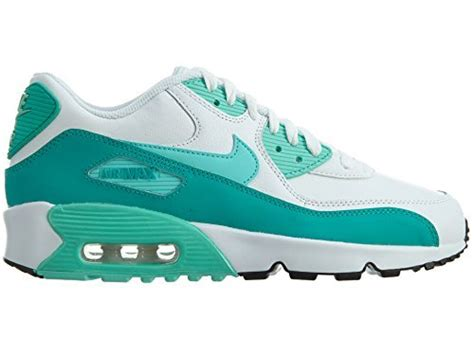 Air Max 90 Letter Big Kids Style Shoes : 833376, White/Hyper Turquoise/Clear Jade, 5.5