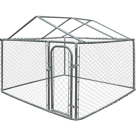Aleko-Diy-Chain-Link-Dog-Kennel-With-Roof