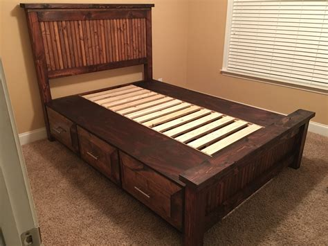 Ana White Farmhouse Bed With Drawers Full