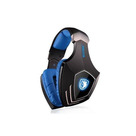 Andoer Sades A-60 USB Stereo Headphone Gaming Headset with Microphone 50mm Driver 7.1 Surround Sound LED Logo Black and Blue