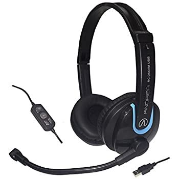 Andrea Communications NC-255VM USB On-Ear Stereo USB Computer Headset with Noise-Canceling Microphone, In-Line Volume / Mute Controls, and Plug