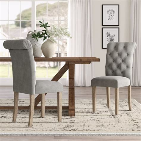Ansonia Roll Top Tufted Modern Upholstered Dining Chair