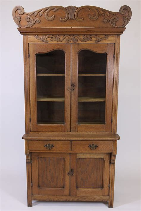Antique Oak Step Back Cabinet