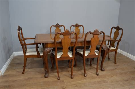 Antique Walnut Dining Table Matching Chairs Chatanooga Furniture Co