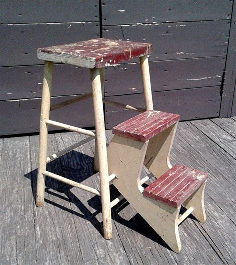 Antique Wooden Stool With Fold Out Steps For Trucks