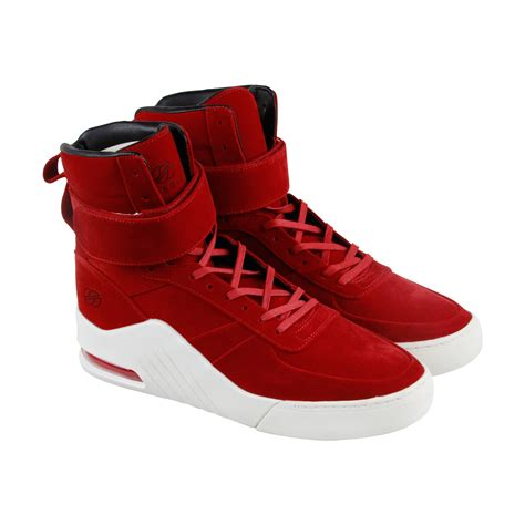 Apex Mens Black Suede High Top Lace up Sneakers Shoes