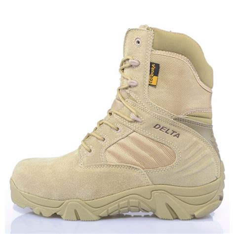Army Male Commando Combat Desert Outdoor Hiking Boots Landing Tactical Military Shoes (Size 36 - 46)