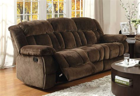 Ashley Reclining Microfiber Couch Brown