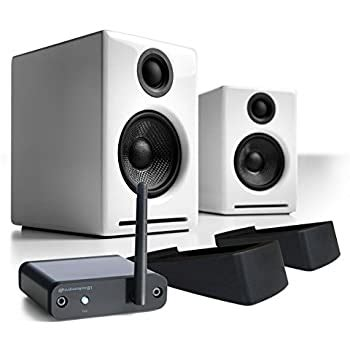 Audioengine A2+ Limited Edition Premium Powered Desktop Speakers Package (Black) With B1 Bluetooth Music Receiver and DS1 Desktop Speaker Stands