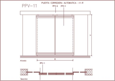 Automatic Sliding Door Plan Dwg