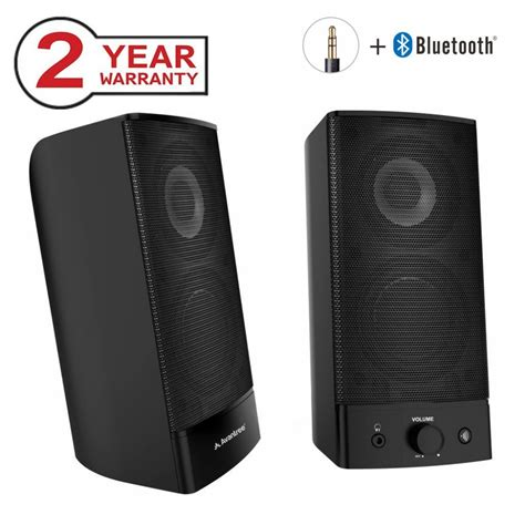Avantree Desktop Bluetooth Computer Speakers, Wireless & Wired 2-in-1, Superb Stereo Audio, AC Powered 3.5mm/RCA Multimedia External Speakers for Laptop, PC, Mac, TV - SP750 [2 Year Warranty]